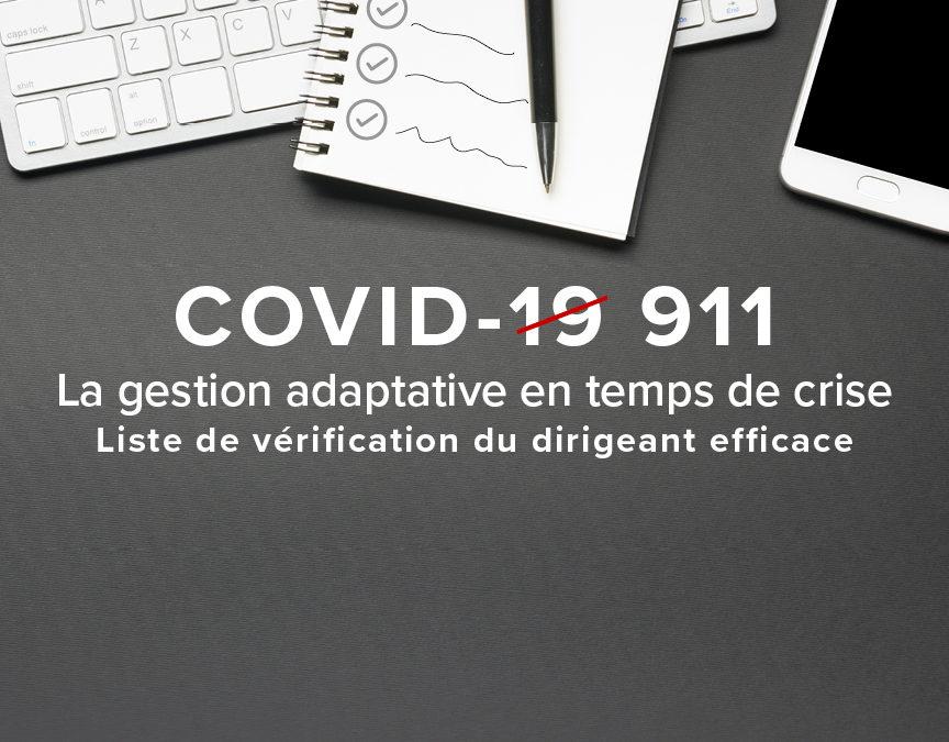 Covid-19 – Liste de vérification du dirigeant efficace.